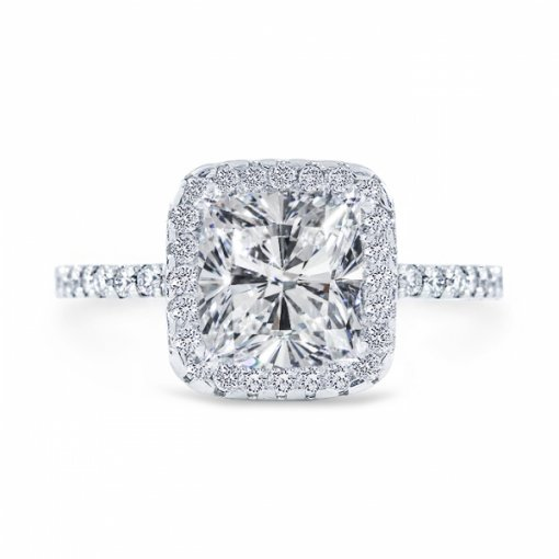 1.67 carat of Cushion Cut G VS1 Diamond Wedding Set in Platinum with French Pave setting