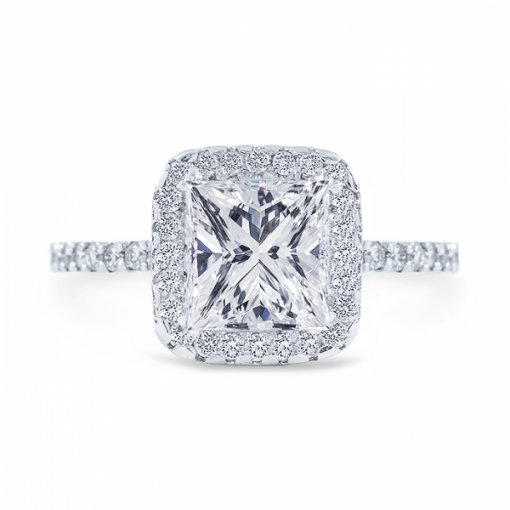 1.67 carat of Princess Cut G VS2 Diamond Wedding Set in Platinum with French Pave setting.