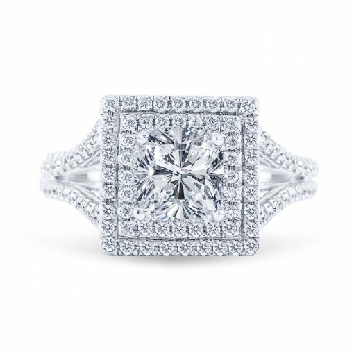 1.63ct Cushion Cut H SI2 Diamond Double Halo Split-Shank crafted in White gold. Also available in Cushion or Princess.