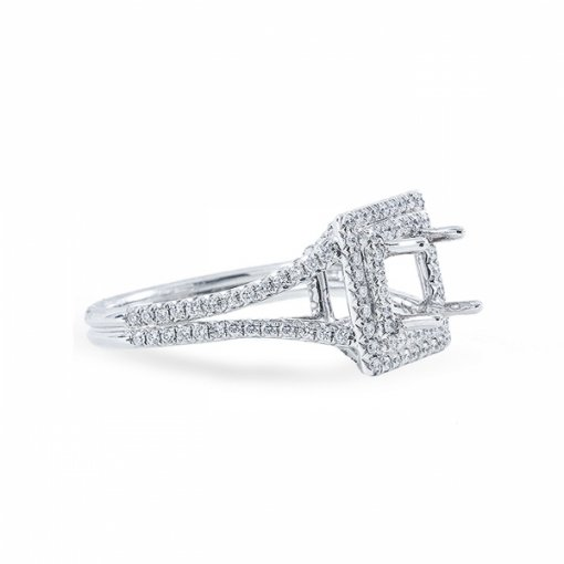 1.64ct Princess Cut F VS2 Diamond in Double Halo Split-Shank crafted in White gold Also Available Cushion or Princess.