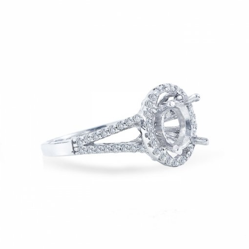 1.46ct Round Cut E SI1 Diamond in Halo split-shank french pave setting crafted in white gold.