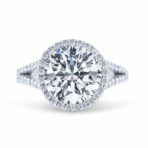 1.47ct Round Cut F SI1 Diamond in Halo split-shank french pave setting crafted in white gold.