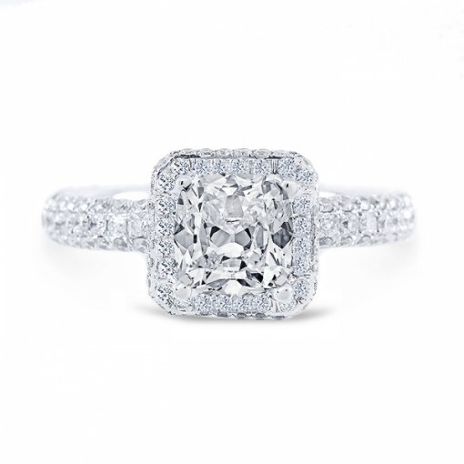 2.31ct Cushion Cut G VS1 Diamond in Halo Pave Setting crafted in 18K white gold. Also available in Asscher and Princess.