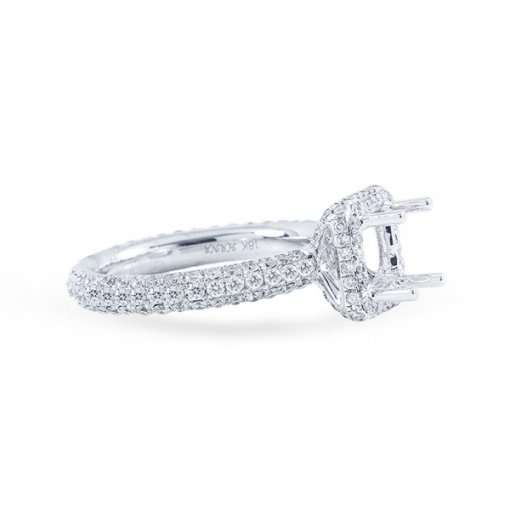 2.51ct Cushion Cut D VS1 Diamond in Halo Pave Setting crafted in 18K white gold. Also available in Asscher and Princess.