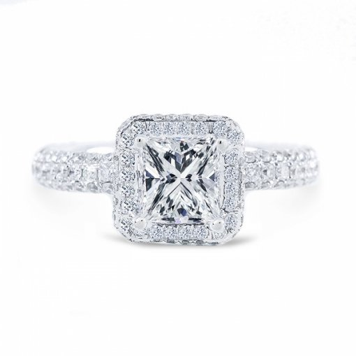 2.32ct Princess Cut G VVS2 Diamond in Halo Pave Setting crafted in 18K white gold. Also available in Asscher and Cushion