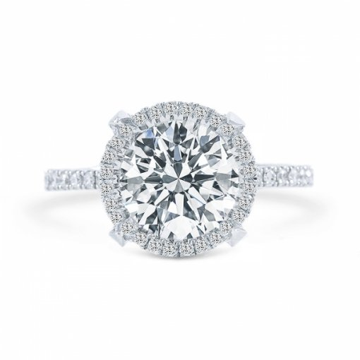 1.63ct Round Cut D VS2 Diamond in Halo French Pave Set crafted in 18k white gold.