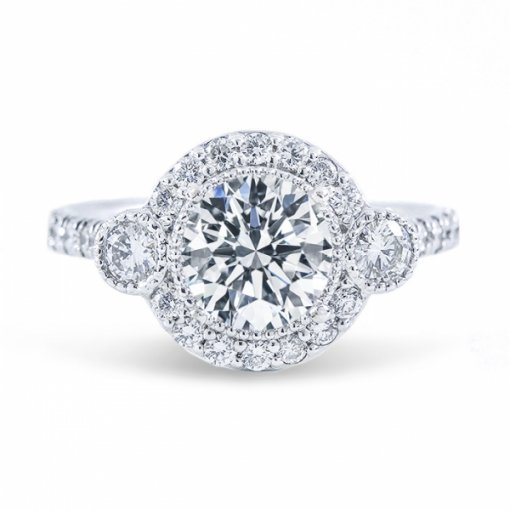 1.67ct Round Cut F SI1 Diamond Engagement Ring in Halo French Pave set with milgrain detail.