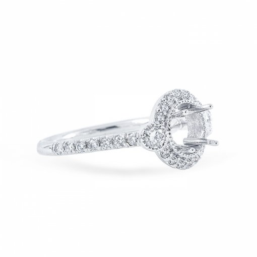 1.67ct Round Cut G VS1 Diamond Engagement Ring in Halo French Pave set with milgrain detail.