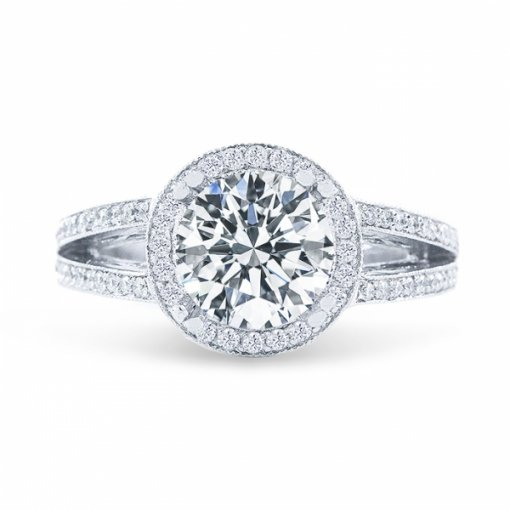 1.39ct Round Cut D VS1 Diamond Ring in Split Shank Halo Pave Set with Milgrain Details.