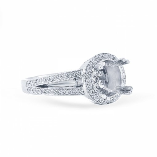 1.39ct Round Cut E VS2 Diamond Ring in Split Shank Halo Pave Set with Milgrain Details.