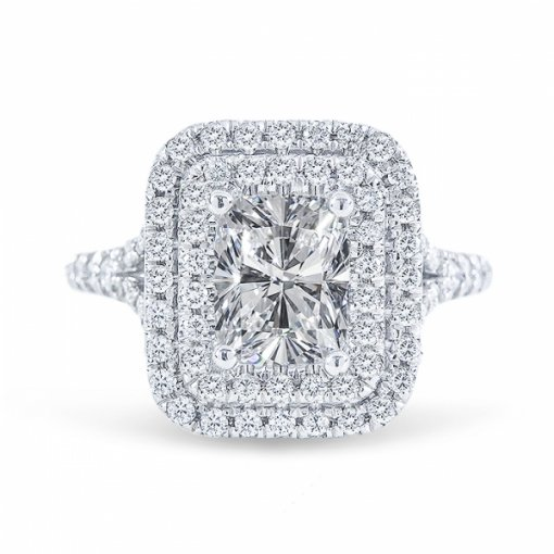 1.74ct Cushion Cut G SI1 Diamond Engagement Ring in Double halo split-shank pave set. Also available in Emerald and Radiant.