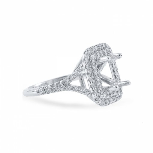 1.74ct Radiant Cut I VVS2 Diamond Engagement Ring in Double halo split-shank pave set. Also available in Emerald and Cushion