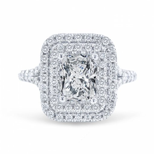 1.93ct Radiant Cut E VS1 Diamond Engagement Ring in Double halo split-shank pave set. Also available in Emerald and Cushion