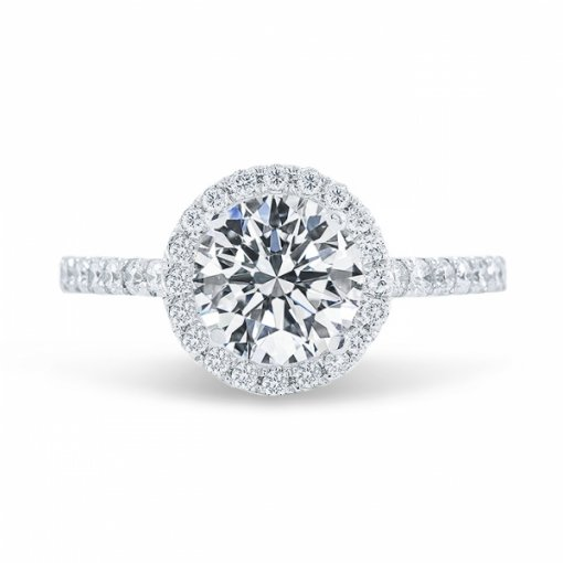 1.62ct Round Cut F VS1 Diamond Engagement Ring in Halo French Pave set.
