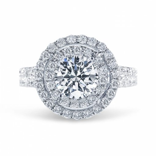 2.05ct Round Cut E SI1 Diamond in Double Halo Split-Shank French Pave Engagement Ring.
