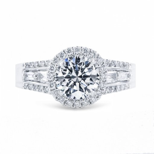 1.48ct Round Cut E VS2 Diamond Halo French Pave Engagement Ring with Baguette Diamonds.