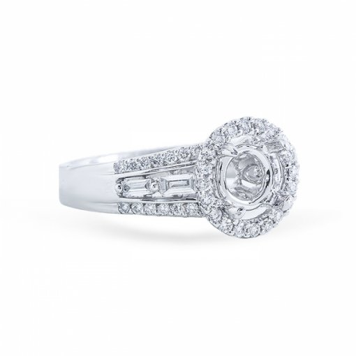 1.48ct Round Cut F SI1 Diamond Halo French Pave Engagement Ring with Baguette Diamonds.