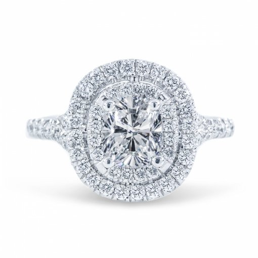 1.72ct Round Cut F SI1 Diamond in Split Shank Double Halo French Pave Engagement Ring.
