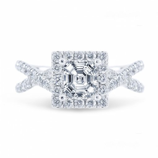 1.76ct Asscher Cut I VS1 Diamond in Halo Criss Cross Shank French Pave Engagement Ring. Also available in Princess Cut.