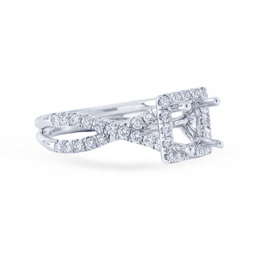 1.90ct Asscher Cut F SI1 Diamond in Halo Criss Cross Shank French Pave Engagement Ring.  Also Available in Princess Cut