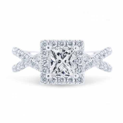 1.76ct Princess Cut G VS1 Diamond in Halo Criss Cross Shank French Pave Engagement Ring. Also available in Asscher Cut.