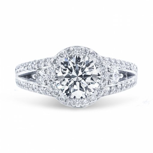 2.17ct Round Cut E SI1 Diamond in Halo Split Shank Engagement Ring.
