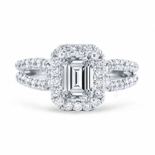 2.29ct Emerald Cut G VS1 Diamond in Split Shank Halo with U prong Engagement Ring. Also available in Radiant cut center.