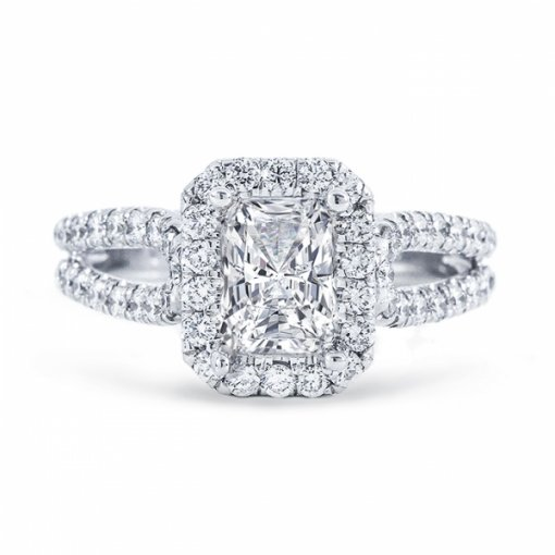 1.80ct Radiant Cut H SI2 Diamond in Split Shank Halo with U prong Engagement Ring. Also available in Emerald cut center.