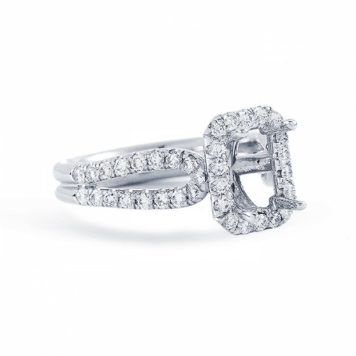 1.99ct Radiant Cut F VS1 Diamond in Split Shank Halo with U prong Engagement Ring. Also available in Emerald cut center.