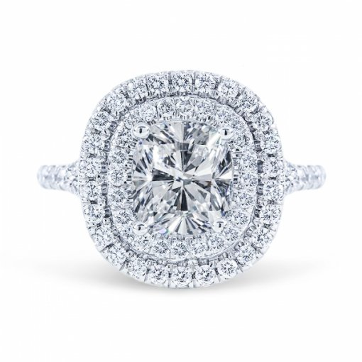 1.87ct Cushion Cut G VS2 Diamond Split Shank Style Double Halo Engagement Ring.