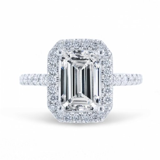 1.53ct Emerald Cut G VS2 Diamond Halo U Prong Engagement Ring. Also Available in Cushion or Radiant Cut center.