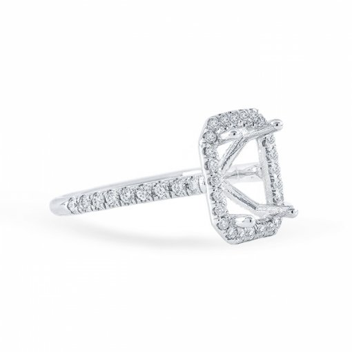 1.73ct Emerald Cut F VS2 Diamond Halo U Prong Engagement Ring. Also Available in Cushion or Radiant Cut center.