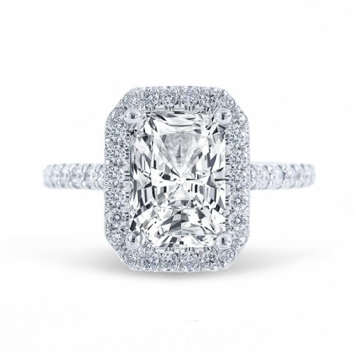 1.54ct Radiant Cut I VVS2 Diamond Halo U Prong Engagement Ring. Also Available in Emerald or Cushion Cut center.