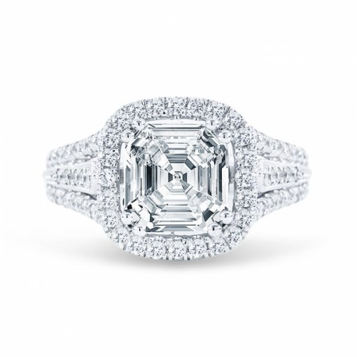 1.88ct Asscher Cut I VVS2 Diamond in Multi Shank Halo Pave with milgrain detail Engagement Ring. Also available in Cushion cut.