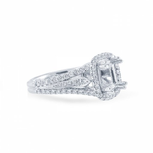 2.68ct Cushion Cut G VS2 Diamond in Multi Shank Halo Pave with milgrain detail Engagement Ring. Also available in Asscher cut.
