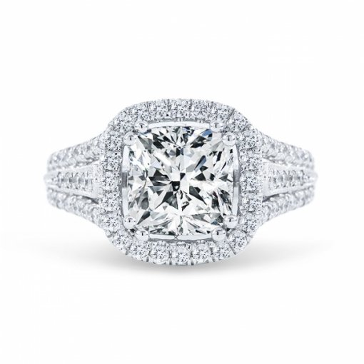 1.88ct Cushion Cut E VVS1 Diamond in Multi Shank Halo Pave with milgrain detail Engagement Ring. Also available in Asscher cut.