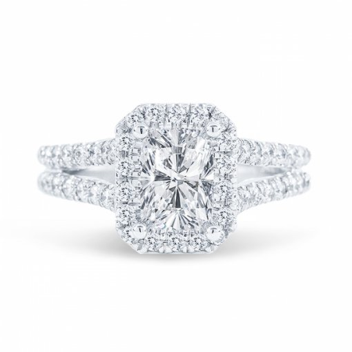 1.65ct Cushion Cut G SI1 Diamond in Split Shank Halo Engagement Ring with U Prong set. Also available in Emerald or Radiant cut