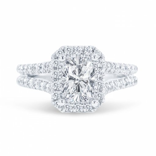 1.8ct Cushion Cut E VS2 Diamond in Split Shank Halo Engagement Ring with U Prong set. Also available in Emerald or Radiant Cut.
