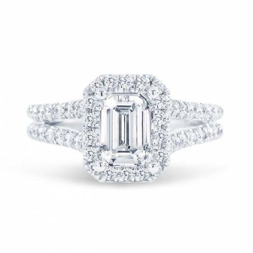 2.11ct Emerald Cut F VS2 Diamond in Split Shank Halo Engagement Ring with U Prong set. Also available in Cushion or Radiant Cut.