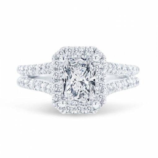 1.61ct Radiant Cut H VS2 Diamond in Split Shank Halo Engagement Ring with U Prong set. Also available in Emerald or Cushion Cut.