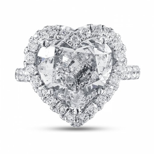 6.13ct GIA Heart 18K White Gold Engagement Ring H/SI2
