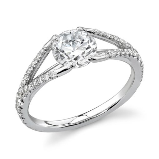 1.41ct GIA Round 18K White Gold Pave Halo Engagement Ring E/SI1 (1132020656)