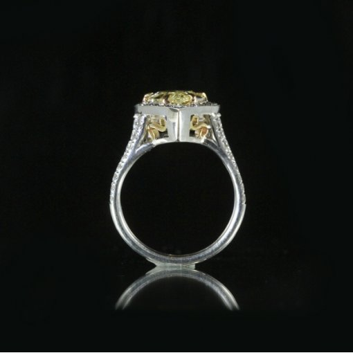 4.01ct GIA Pear Shape 18K White Gold Diamond Engagement Ring Fancy Intense Yellow/SI1