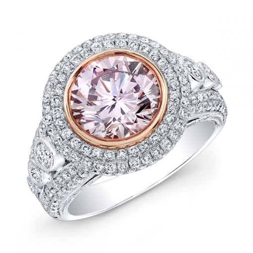 3.59ct GIA Round 18K Two-Tone Halo Engagement Ring Very Light Pink/VS2