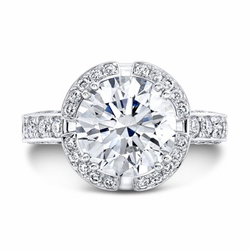4.33ct EGL Round 18K White Gold Halo Engagement Ring E/SI1