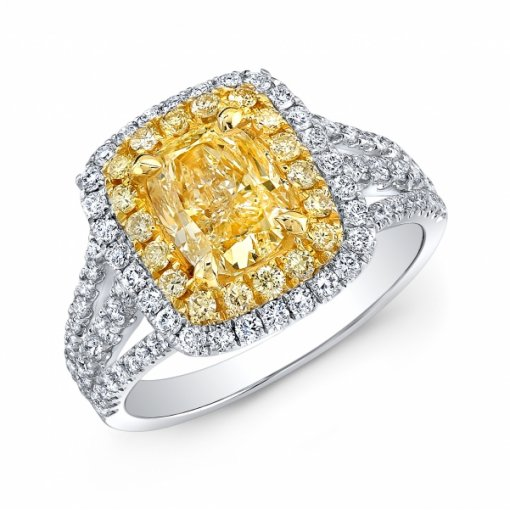 2.45ct EGL Cushion 18K Two Tone Halo Split Shank Engagement Ring Fancy Yellow/SI1