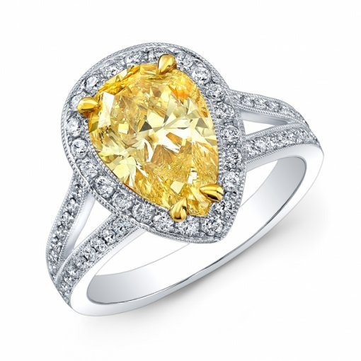 3.07ct EGL Pear 18K White Gold Halo, Split Shank Engagement Ring Fancy Vivid Yellow/I1