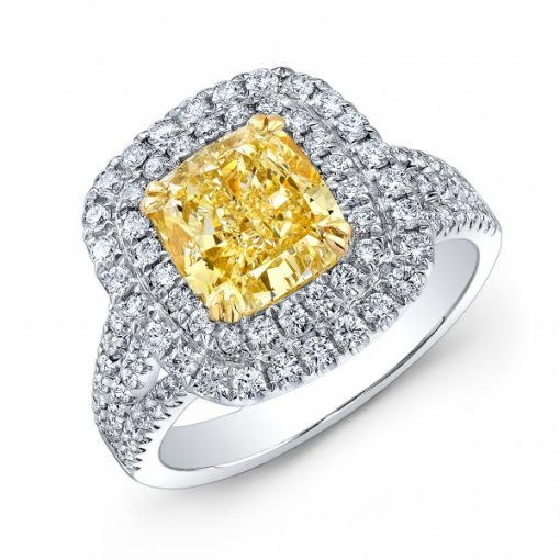 2.27ct EGL Cushion 18K White Gold Halo Engagement Ring Fancy Yellow/SI1