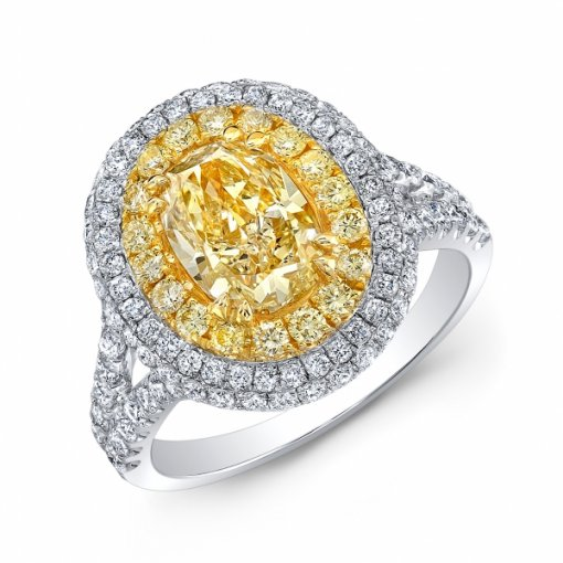 2.71ct EGL Oval 18K Two Tone Halo Split Shank Engagement Ring Fancy Yellow/SI1