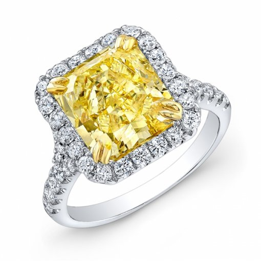 5.11ct GIA Radiant 18K White Gold Halo Engagement Ring fancy Intense Yellow/I1